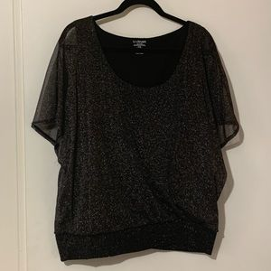 Lane Bryant black top with silver sparkles